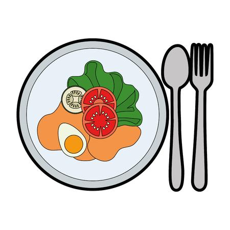 Alimento sano dell'insalata deliziosa con progettazione dell'illustrazione di vettore della coltelleria Archivio Fotografico - 95616008