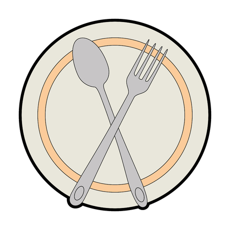 Dish with fork and spoon cutlery isolated icon vector illustration design