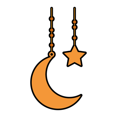 Moon and stars hanging decoration vector illustration design Banque d'images - 95616546