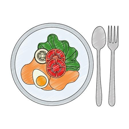 Leckeres Salat gesundes Essen mit Besteck Vektor-Illustration Design Standard-Bild - 98313475