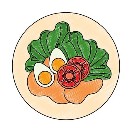 delicious salad healthy food vector illustration design