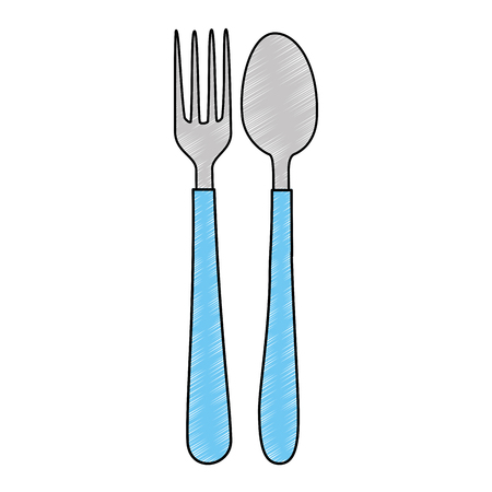 spoon and fork cutlery isolated icon vector illustration design