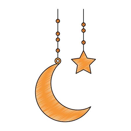 Yellow moon and stars hanging illustration. Illusztráció