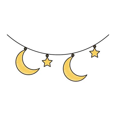 달과 별 매달려 장식 벡터 일러스트 레이 션 디자인