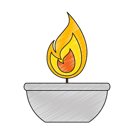candle flame isolated icon on a bowl.