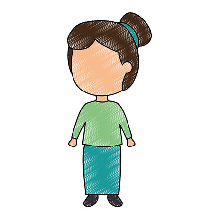 Isolated blank face girl with hair up on green top ang blue skirt.