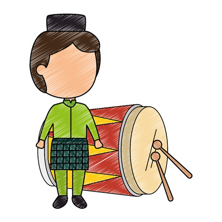 Blank-faced boy on a green traditional clothing with a tropical drum with sticks.  イラスト・ベクター素材