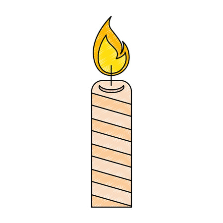 Isolated striped lit candle. Illustration
