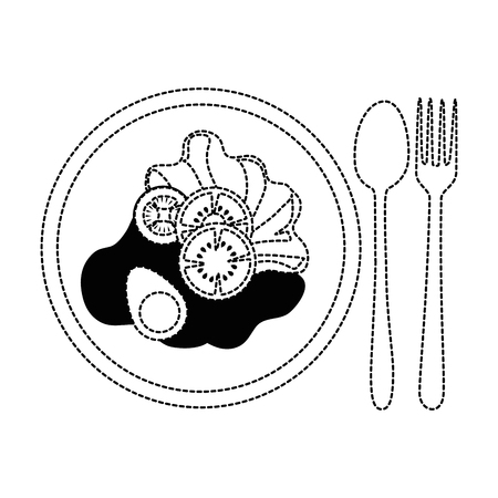 Salad on plate with spoon and fork on broken lines illustration.