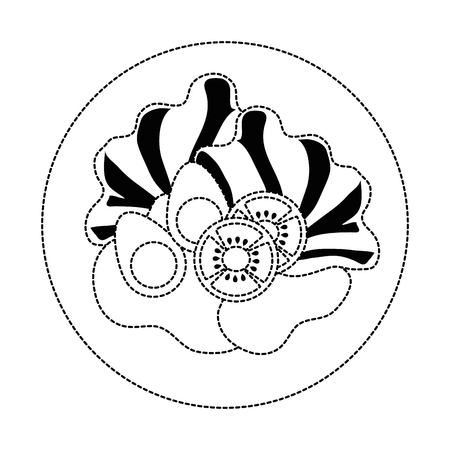 Uncolored salad on a plate illustration. Ilustracja