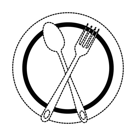 Uncolored crossed spoon and fork on a plate. Ilustração