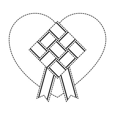 리본 및 심장 일러스트와 함께 무색 마름모 프레임입니다. 스톡 콘텐츠 - 96035979