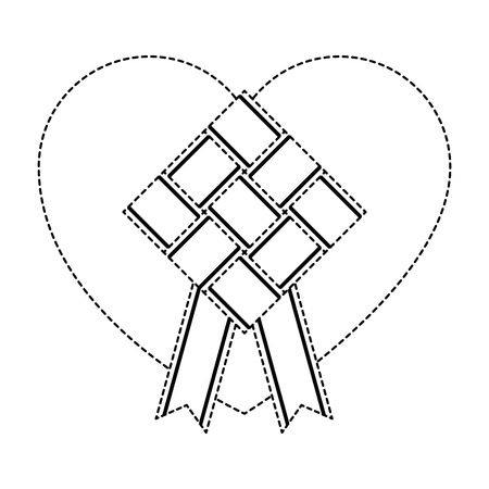 Uncolored rhombus frame with ribbon and heart illustration.