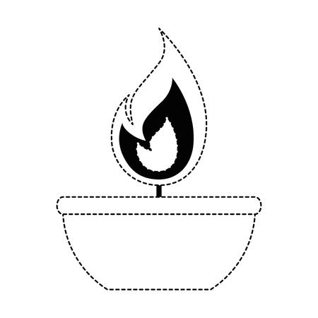 容器の上に孤立した無色の炎。  イラスト・ベクター素材