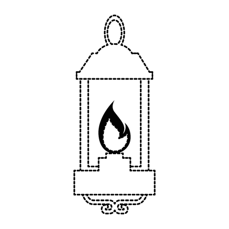 Isolated uncolored lantern lit icon.