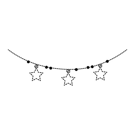 Uncolored garland with stars hanging illustration