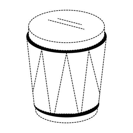 孤立した未着色の熱帯ドラム楽器アイコンイラスト