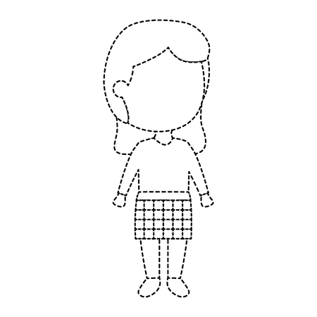 Isolated full body modern girl on hair down uncolored drawn on broken lines. Illustration