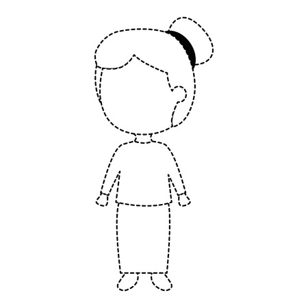 Isolated full body traditional girl on hair up uncolored drawn on broken lines.