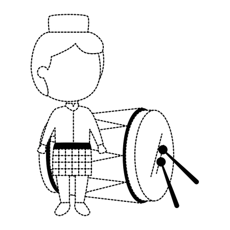Boy on a traditional costume with a tropical drum with sticks.