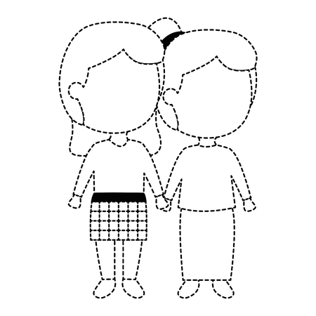 Isolated uncolored girls holding hands. Иллюстрация