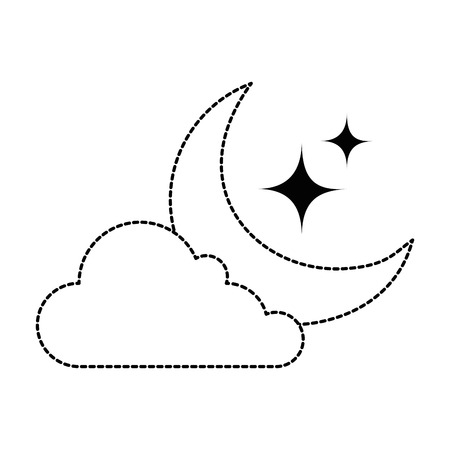 Isolated uncolored moon and stars with cloud icon illustration design.