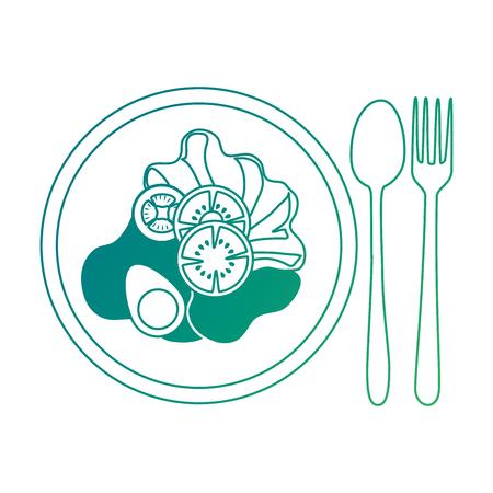 緑の破れた線に描かれたスプーンとフォークのサラダ。