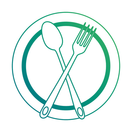 Spoon and fork on a plate drawn on green lines.