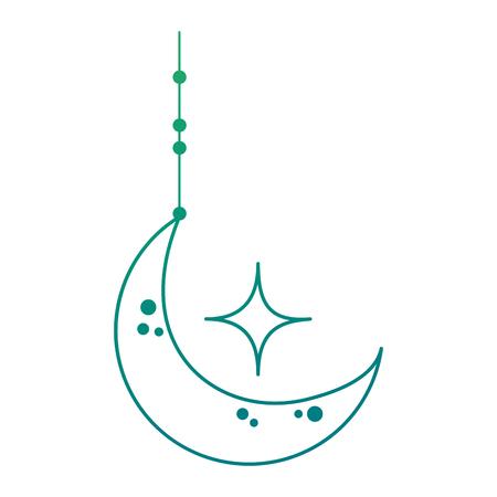 moon and stars hanging on green gradient illustration. Illusztráció