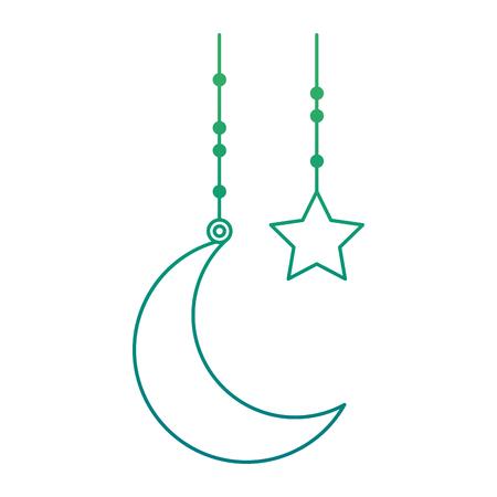 달과 별은 개별적으로 녹색 그라데이션 그림에 걸어.