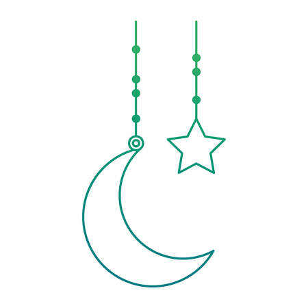 Moon and star individually hang on green gradient illustration.