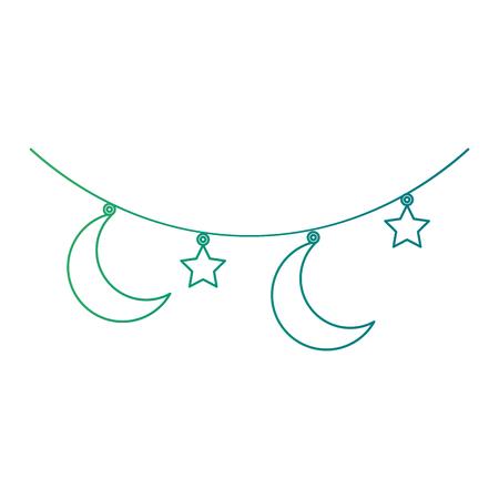 녹색 달과 별 그림 매달려 일러스트