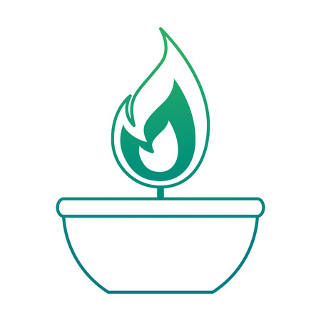 Isolated candle flame icon on green gradient illustration