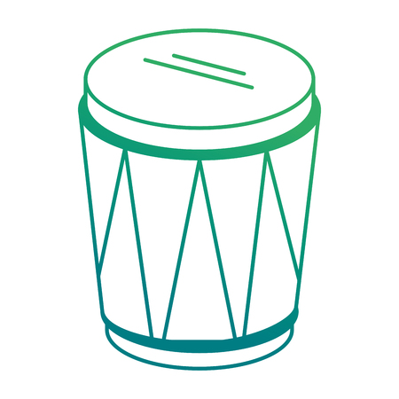 Isolated tropical drum instrument on green gradient line illustration. Ilustração