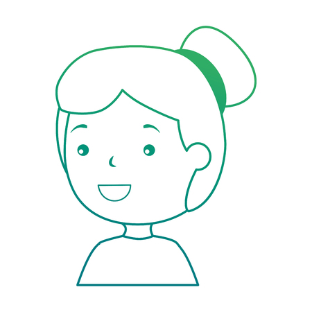 Isolated girl smiling on green gradient illustration.