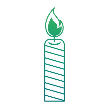 Isolated candle lit on green gradient illustration. Stock Illustratie