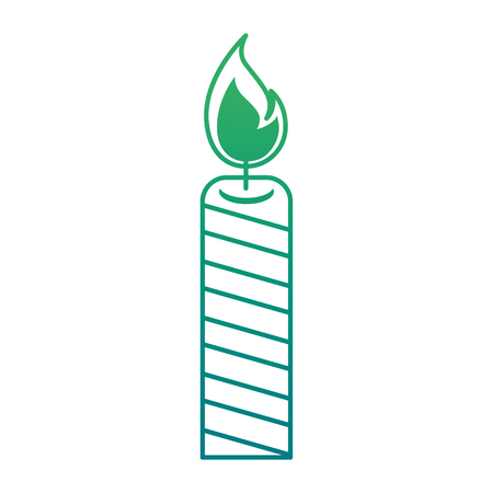 Isolated candle lit on green gradient illustration. Иллюстрация