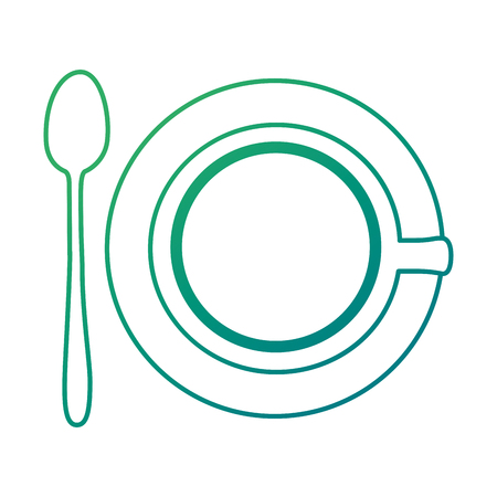 Isolated coffee on a cup with spoon on green gradient illustration.