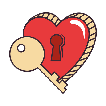 heart love sticker art with key hole vector illustration design