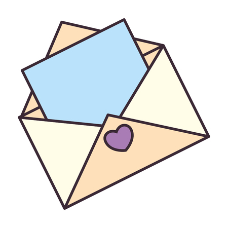 내부 종이와 심장 아이콘으로 봉투를 엽니 다.
