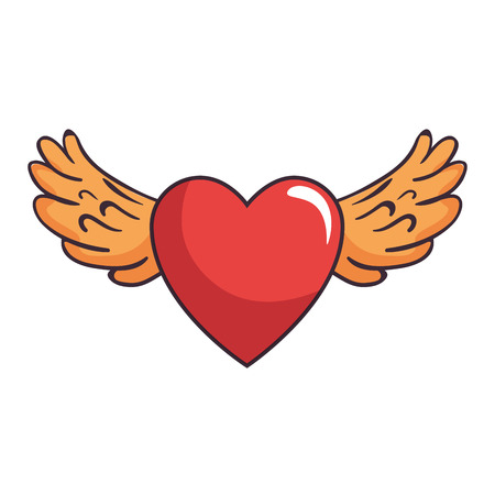 Heart love sticker art with wings vector illustration design