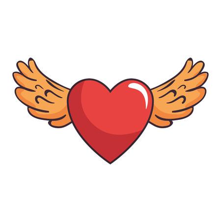 Heart love sticker art with wings vector illustration design