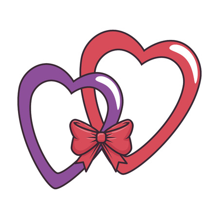 De harten ineengestrengelde kunst van de liefdesticker met ontwerp van de vlinderdas het vectorillustratie