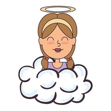 Niña angel con halo sobre diseño de ilustración vectorial de nube