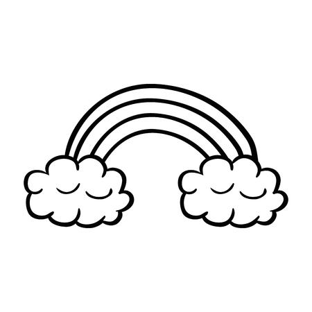 Cute rainbow with clouds sticker vector illustration design Illusztráció