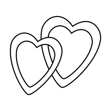 Hearts love intertwined sticker art vector illustration design Stock Vector - 95578604