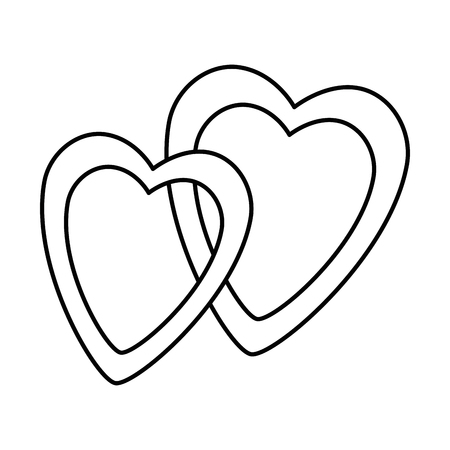 Hearts love intertwined sticker art vector illustration design