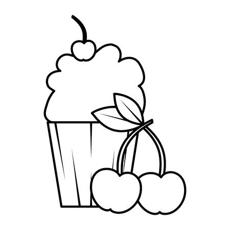 Delicious cupcake sticker with cherries vector illustration design