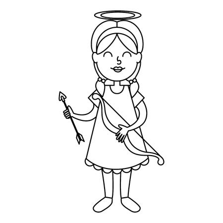 Little girl angel vector illustration design