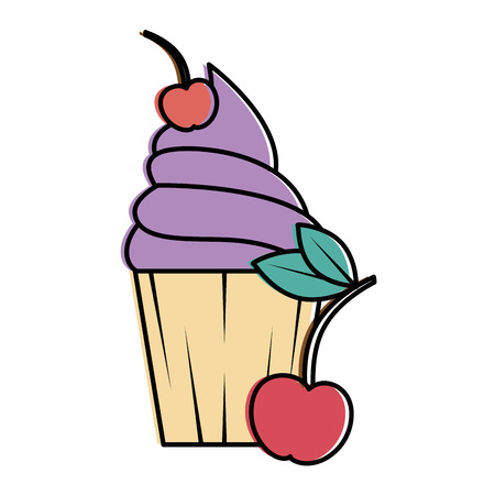 Delicious cupcake sticker with cherries vector illustration design stock vector 95612698
